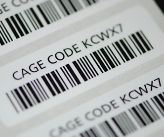 Cage code custom labels printed with a barcode