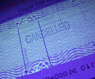 Photo of UltraViolet ink on APACS cheque