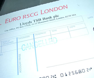 Cheque with MICR Numbering