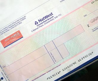 Photo of Parcel Force A4 cheque remittance