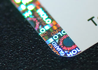 Close up of hologram label showing colours